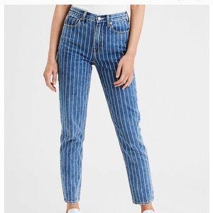 AE Striped Mom Jeans Retro Indigo High Waisted